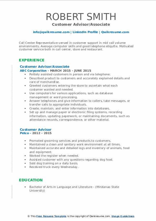 Customer Advisor/Associate Resume Format