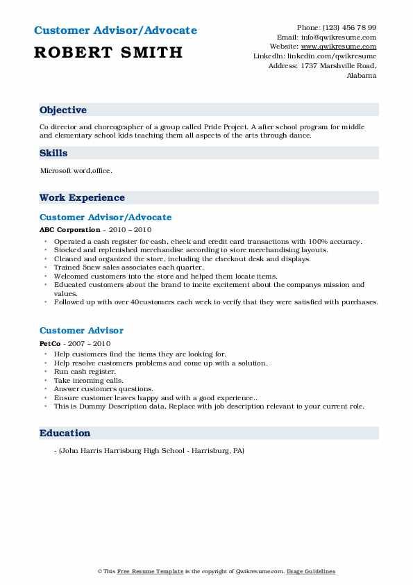 Customer Advisor/Advocate Resume Example