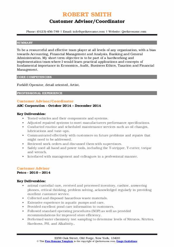 Customer Advisor/Coordinator Resume Example