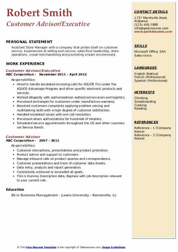 Customer Advisor/Executive Resume Sample