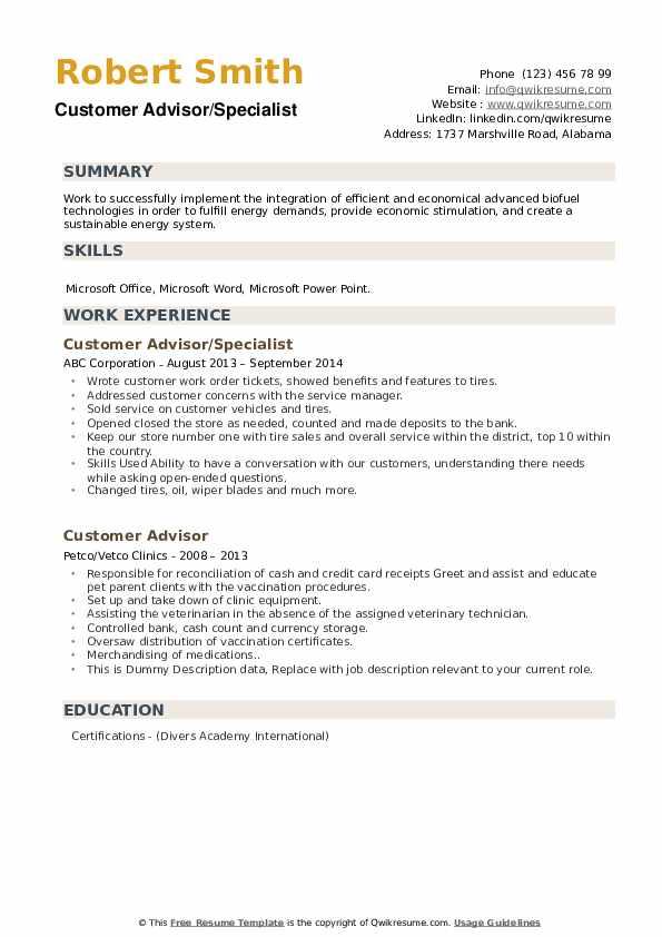 Customer Advisor/Specialist Resume Format