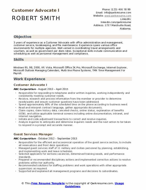 Customer Advocate I Resume Model