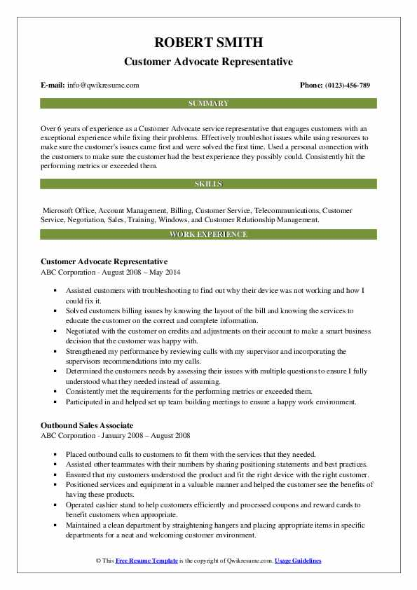 Customer Advocate Representative Resume Template