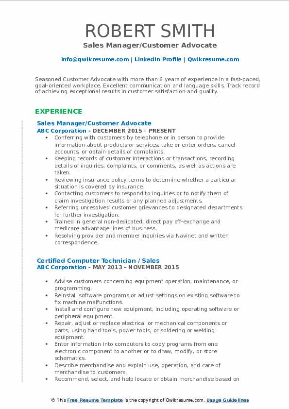 Sales Manager/Customer Advocate Resume Format