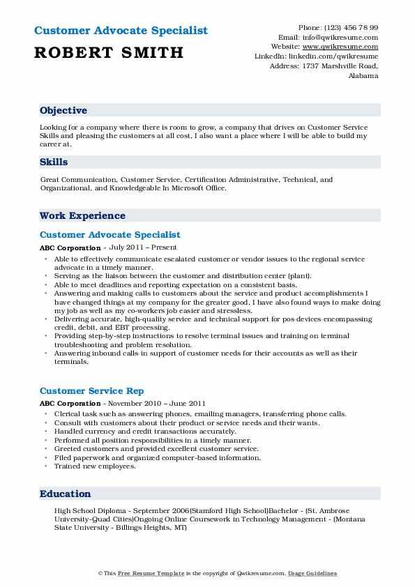 Customer Advocate Specialist Resume Model