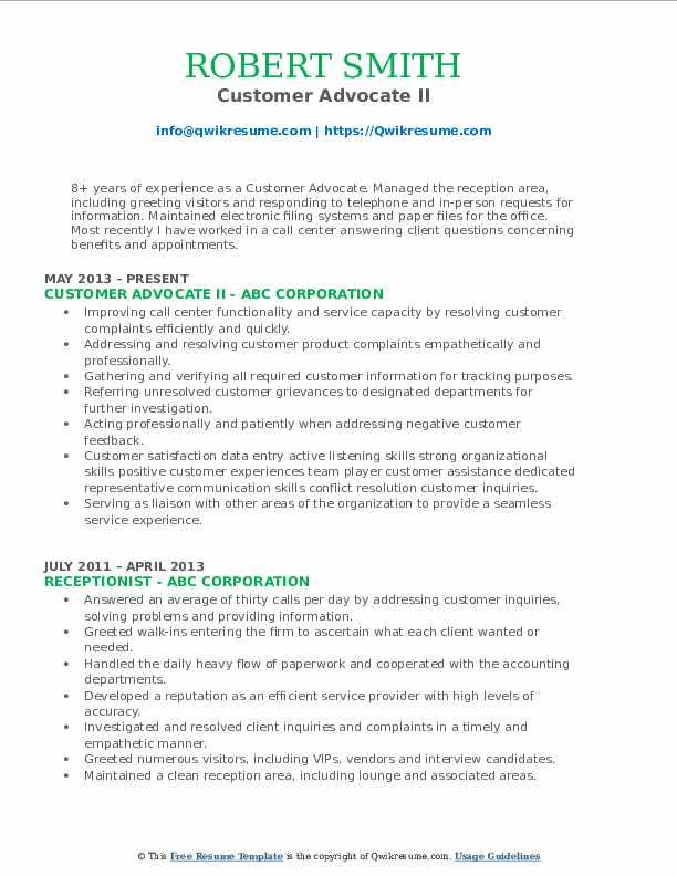 Customer Advocate II Resume Model