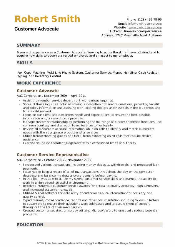 Customer Advocate Resume example