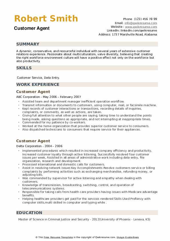 Customer Agent Resume example