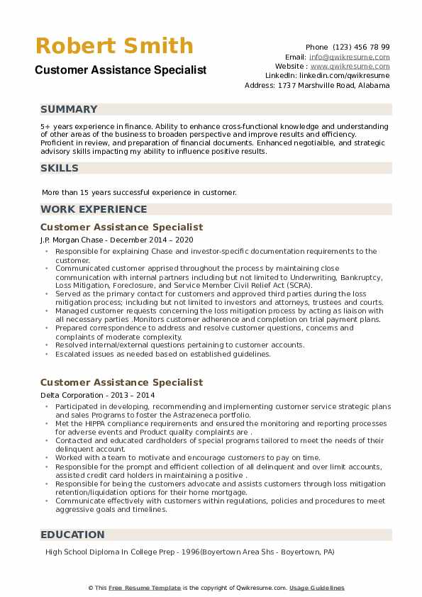 Customer Assistance Specialist Resume example
