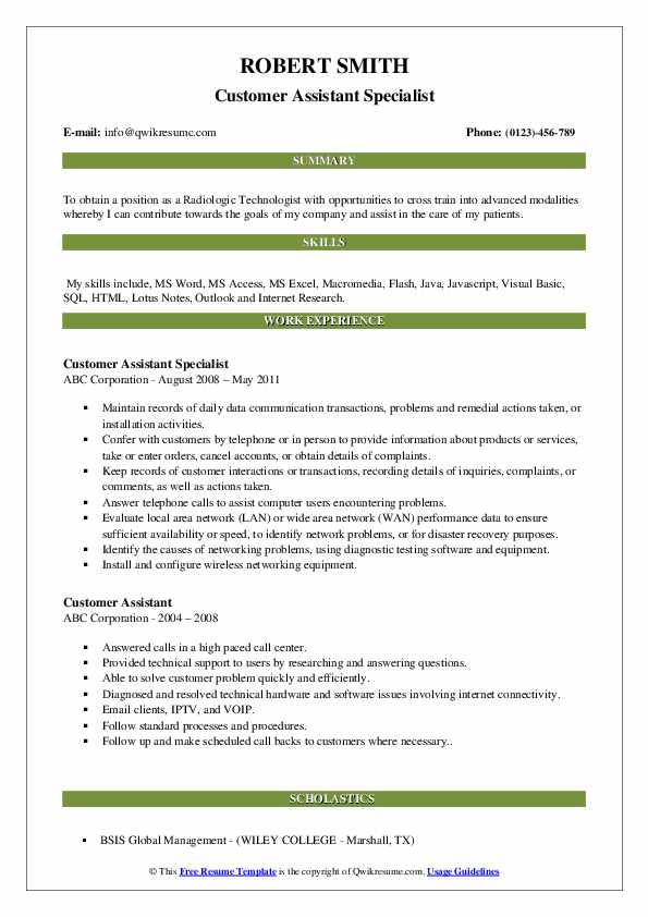 Customer Assistant Specialist Resume Template
