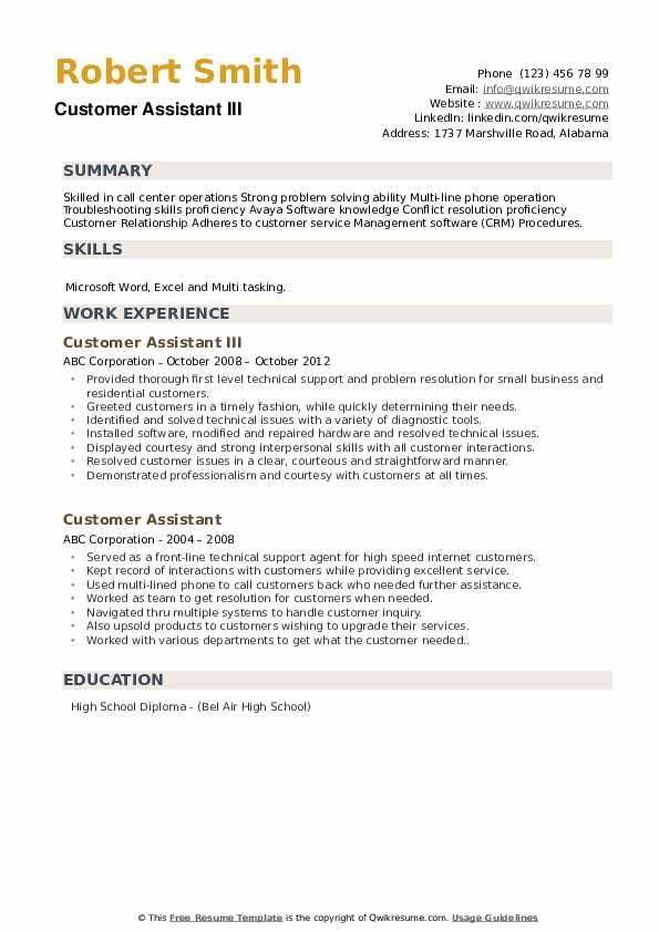 Customer Assistant III Resume Format