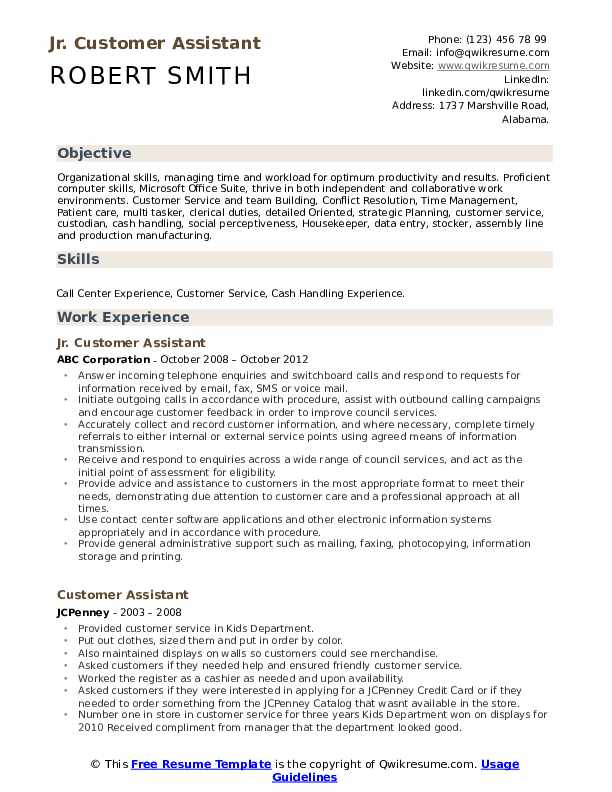 Jr. Customer Assistant Resume Format