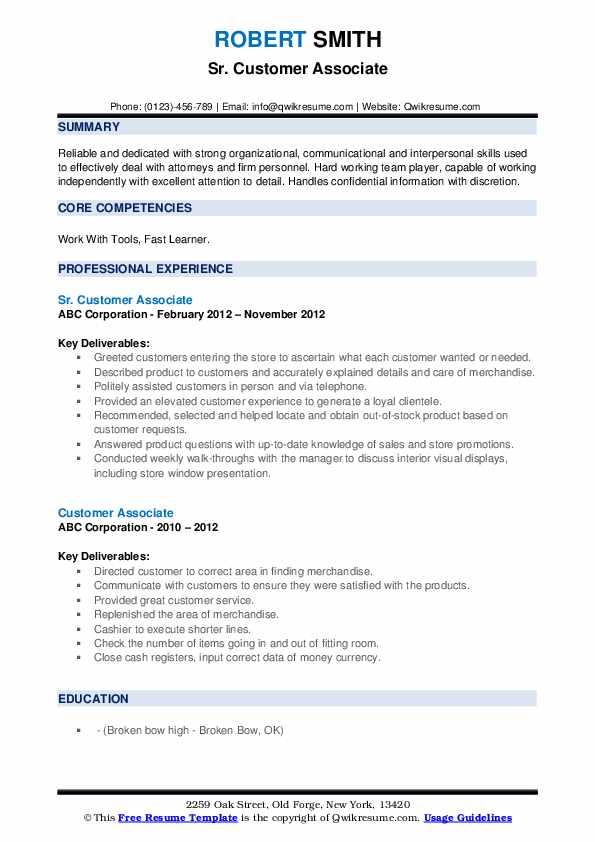 Sr. Customer Associate Resume Example