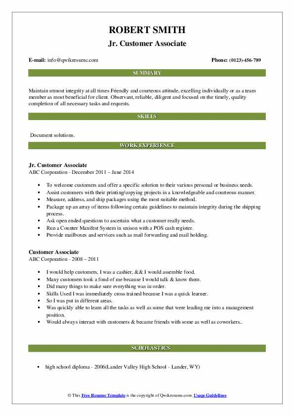 Jr. Customer Associate Resume Model