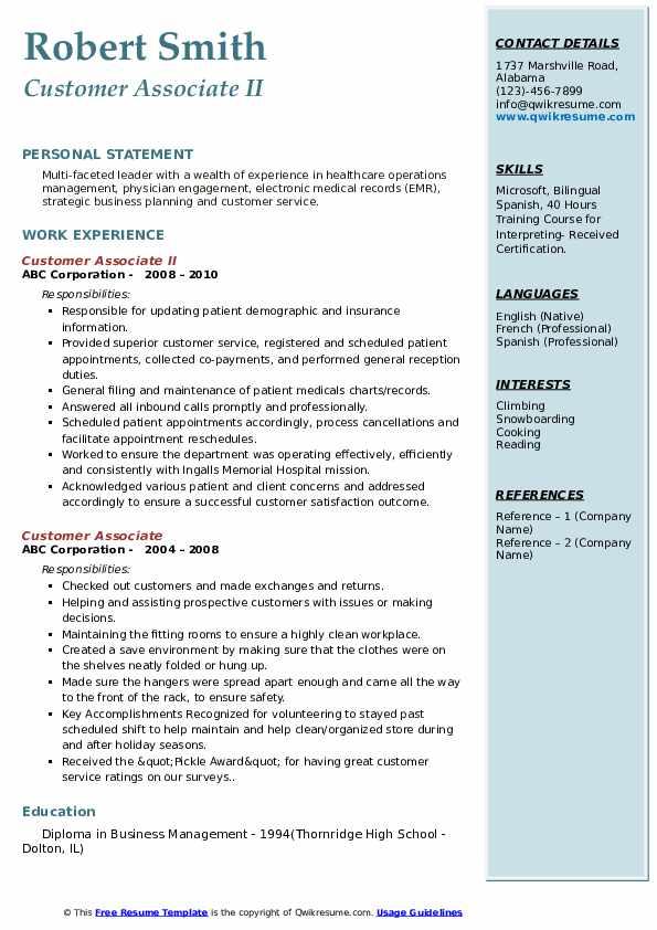 Customer Associate II Resume Format