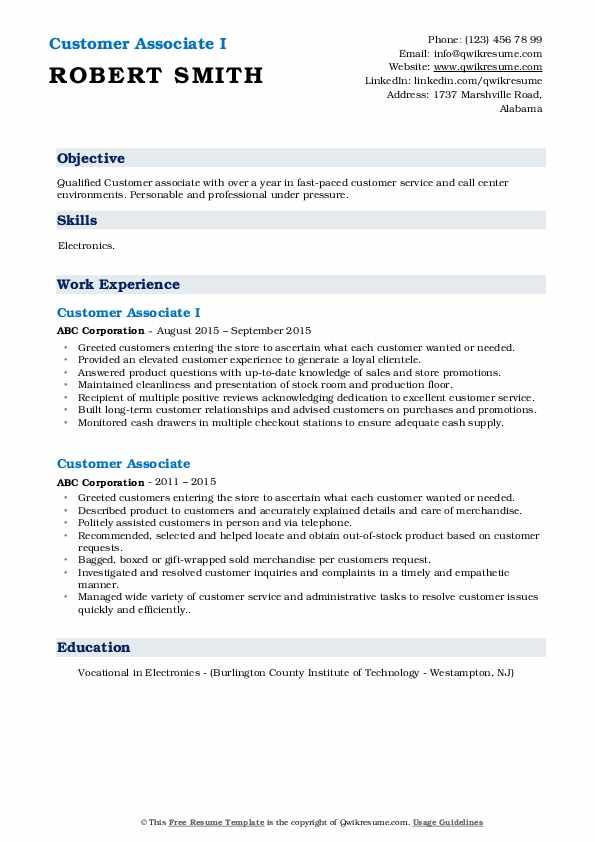 Customer Associate I Resume Model