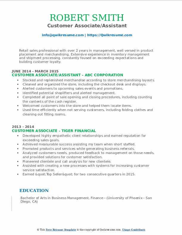 Customer Associate/Assistant Resume Model
