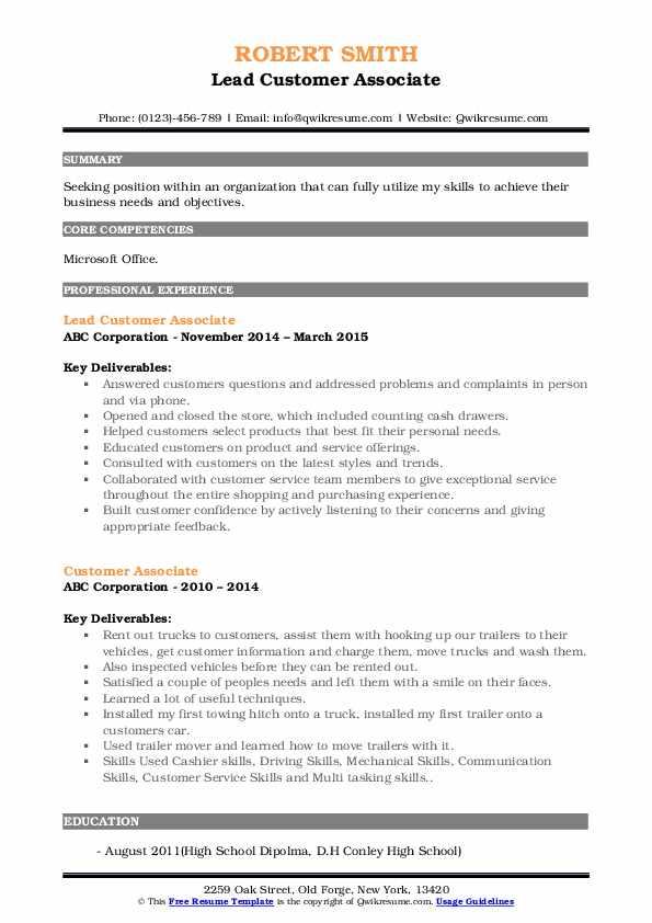 Lead Customer Associate Resume Model