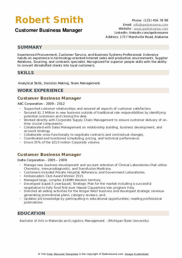 Customer Business Manager Resume example