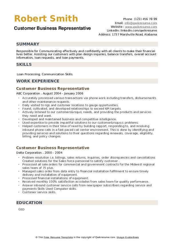 Customer Business Representative Resume example