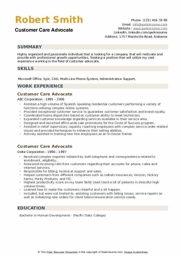 Customer Care Advocate Resume example