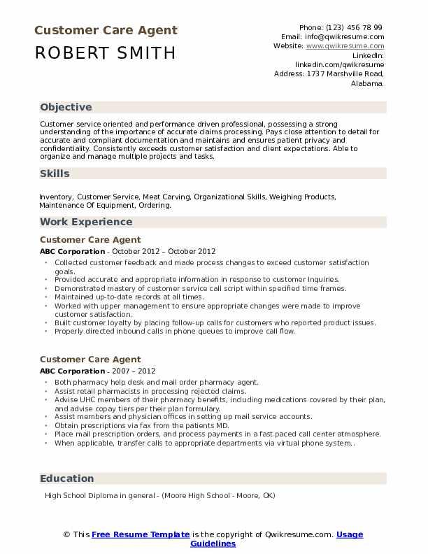 customer care agent resume samples