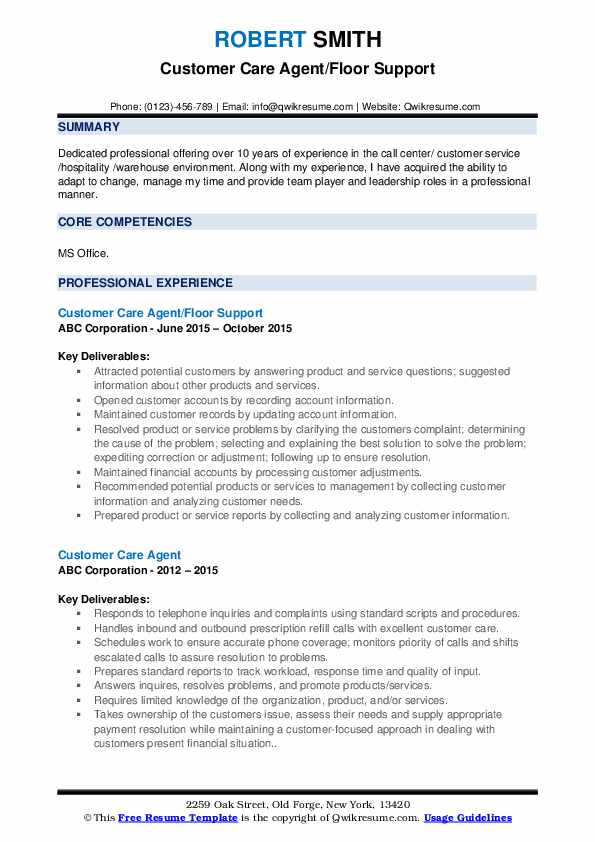Customer Care Agent/Floor Support Resume Model