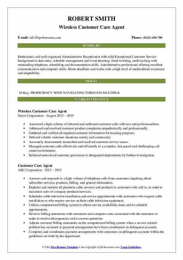 Wireless Customer Care Agent Resume Format