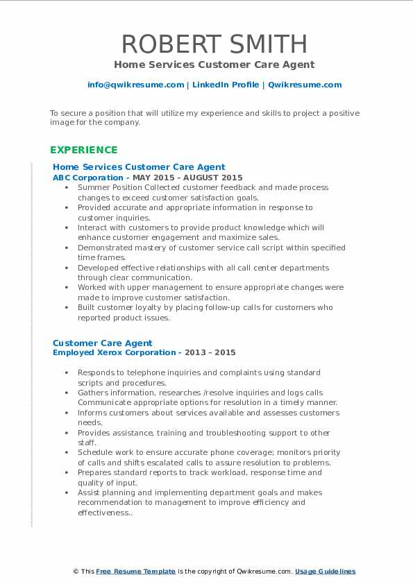 Home Services Customer Care Agent Resume Sample