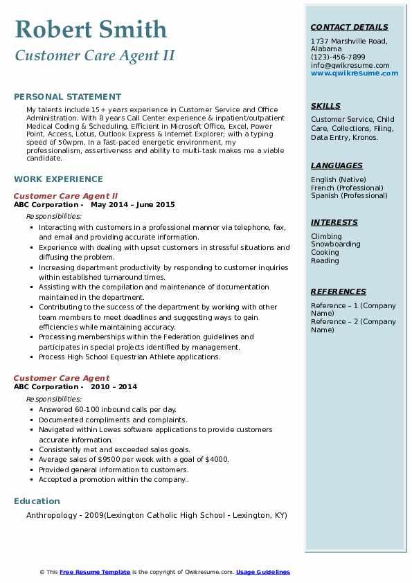 Customer Care Agent II Resume Model