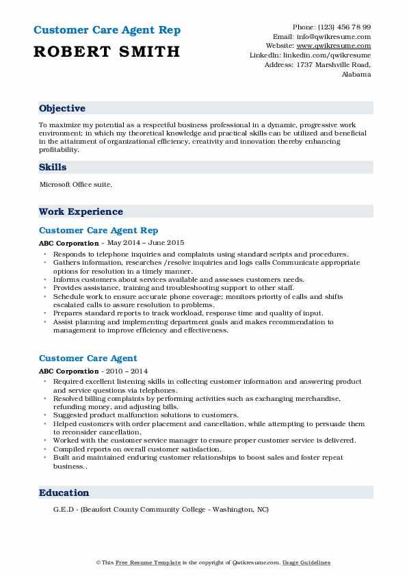Customer Care Agent Rep Resume Model