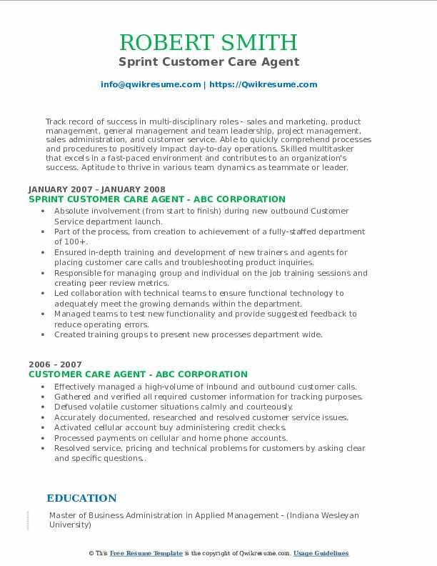 Sprint Customer Care Agent Resume Example