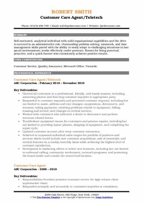 Customer Care Agent/Teletech Resume Sample