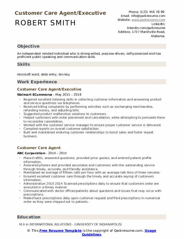 Customer Care Agent/Executive Resume Format