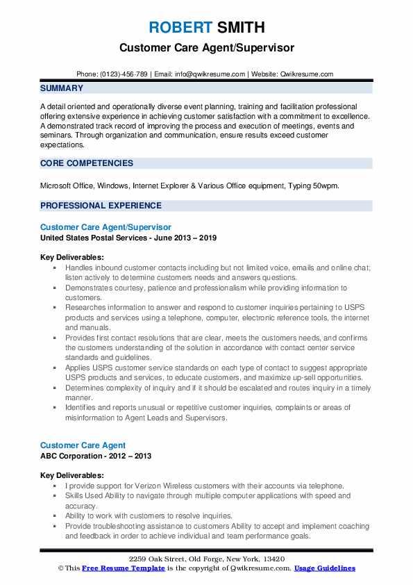 Customer Care Agent/Supervisor Resume Example