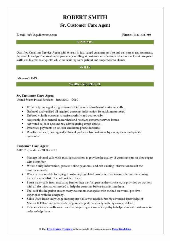 Sr. Customer Care Agent Resume Sample