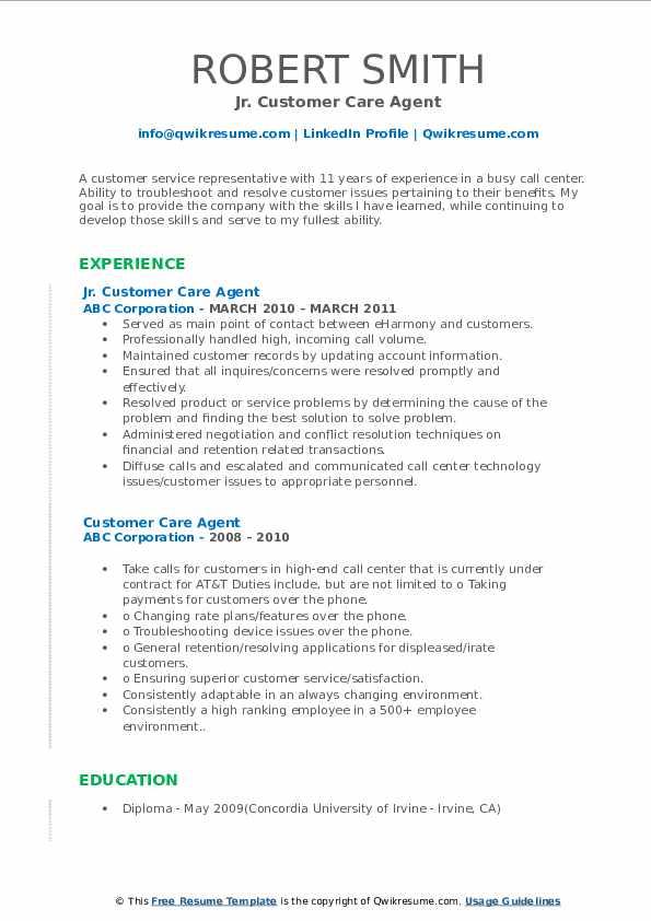 Jr. Customer Care Agent Resume Sample