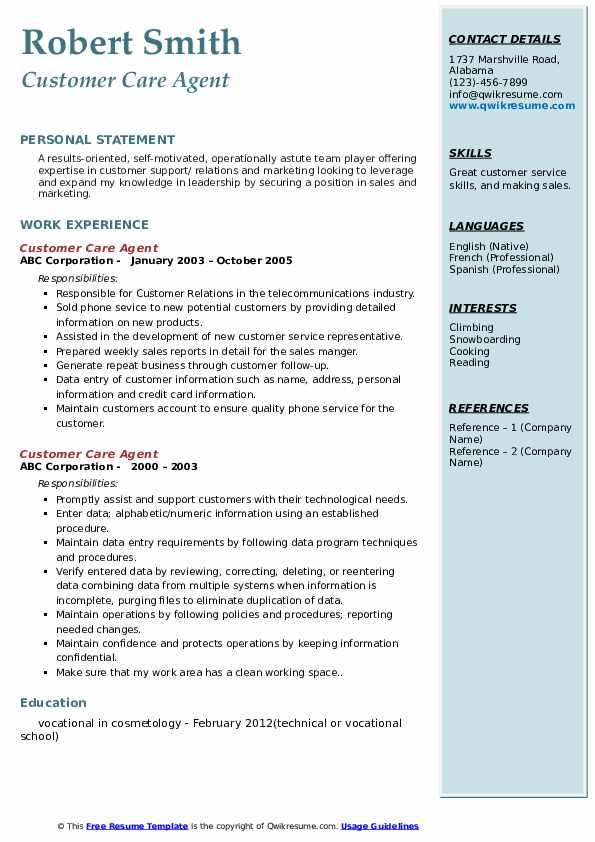 Customer Care Agent Resume example