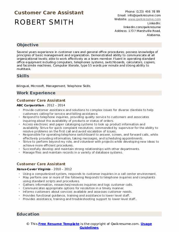 Customer Care Assistant Resume Sample