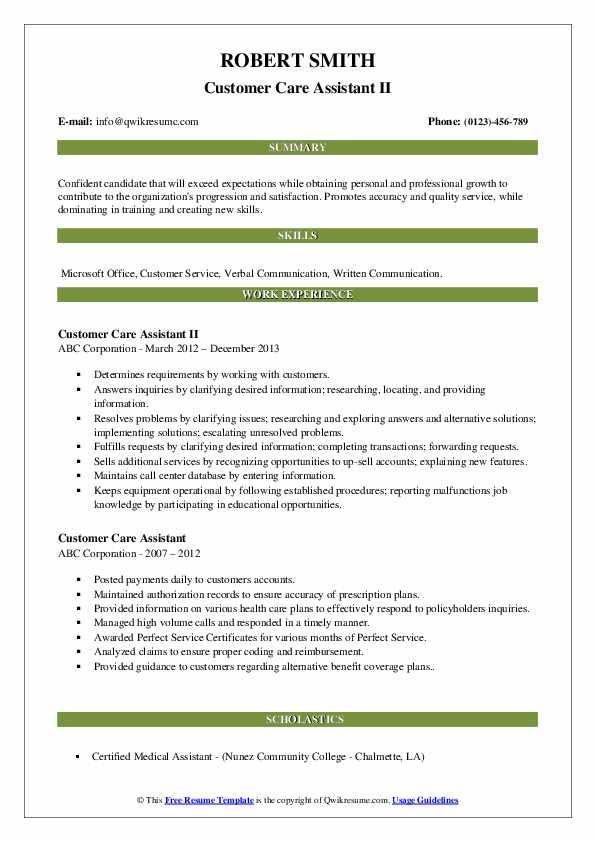 Customer Care Assistant II Resume Model