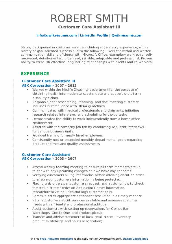 Customer Care Assistant III Resume Model