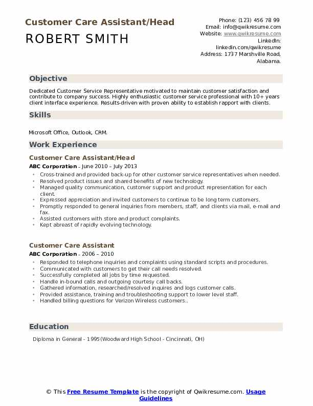 Customer Care Assistant/Head Resume Example