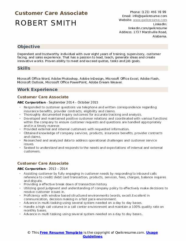 Customer Care Associate Resume Template