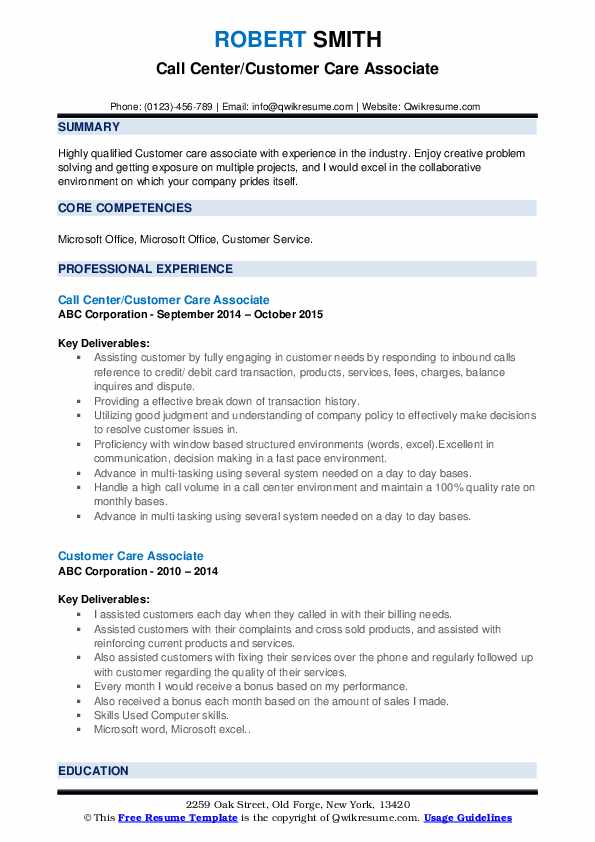 Call Center/Customer Care Associate Resume Example