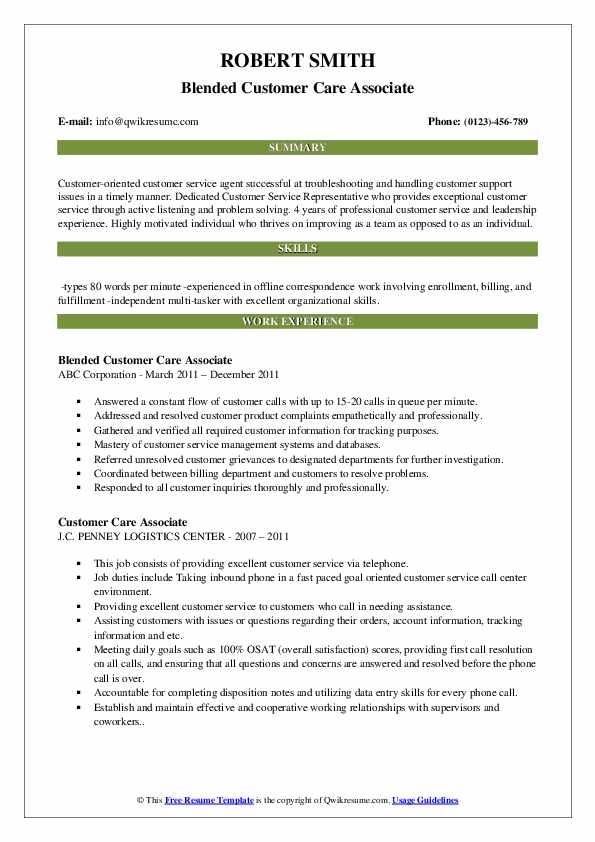 Blended Customer Care Associate Resume Template