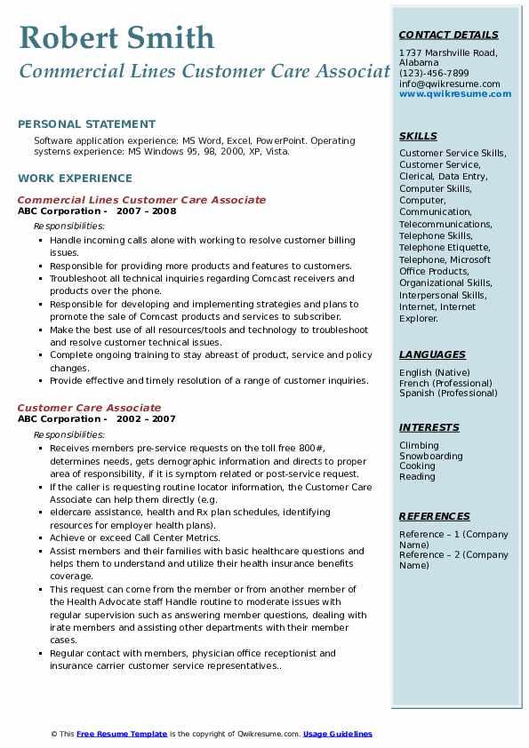 Commercial Lines Customer Care Associate Resume Model