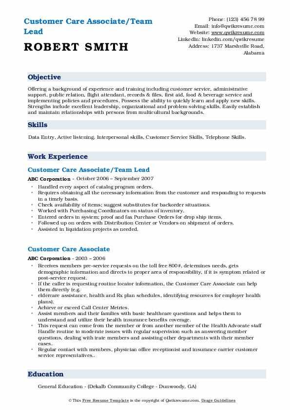 Customer Care Associate/Team Lead Resume Model