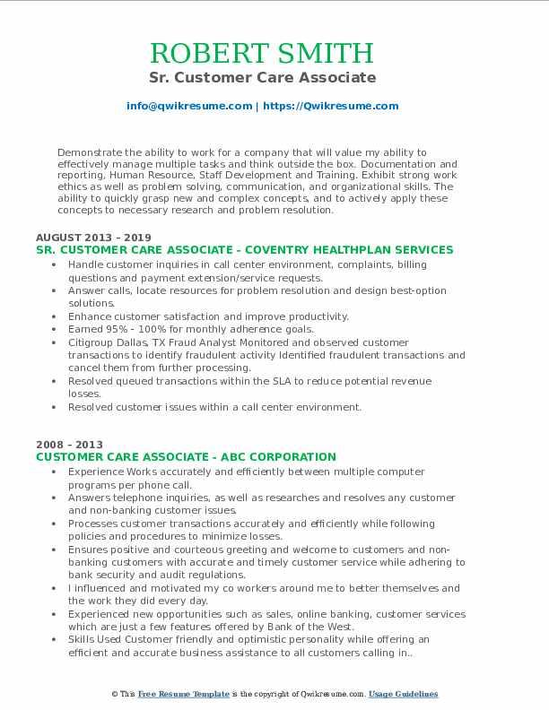 Sr. Customer Care Associate Resume Template
