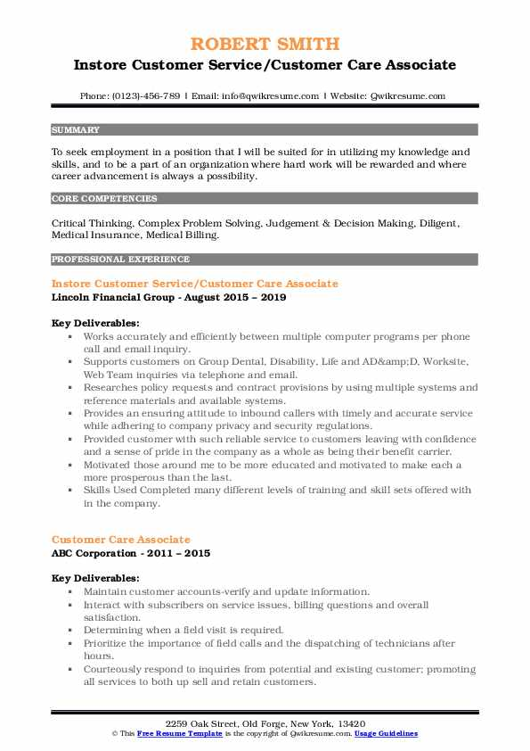 Instore Customer Service/Customer Care Associate Resume Template