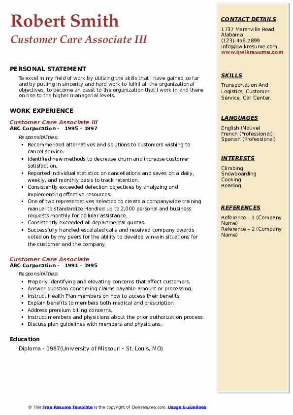 Customer Care Associate III Resume Template